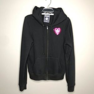 VS PINK black with sequins LOVE PINK zip hoodie L